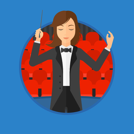 baton: Concentrated orchestra conductor directing with baton. Young woman conducting an orchestra on the background of concert hall. Vector flat design illustration in the circle isolated on background.