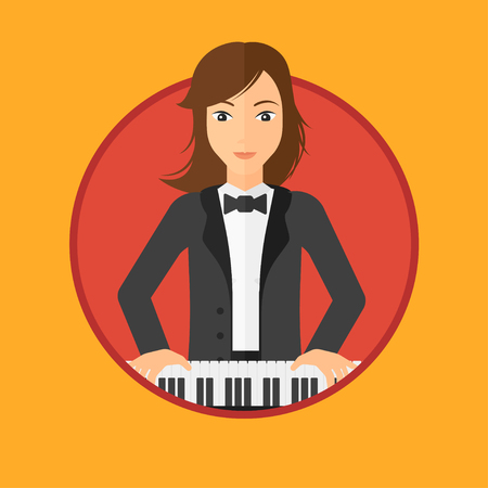 Young musician playing piano. Pianist playing upright piano. Female artist playing on synthesizer. Vector flat design illustration in the circle isolated on background. Illustration