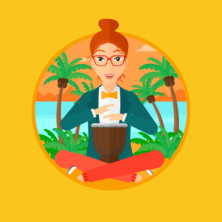 Young woman playing ethnic drum. Mucisian playing ethnic drum on the tropical beach. Woman playing ethnic music on tom-tom. Vector flat design illustration in the circle isolated on background.