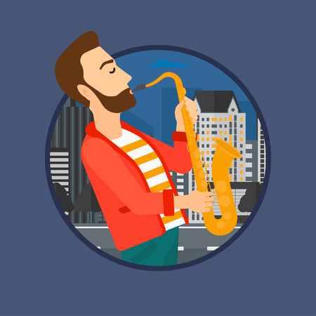street musician: Hipster musician with the beard playing on saxophone. Man playing on saxophone in the night. Man with saxophone in the city street.Vector flat design illustration in the circle isolated on background.