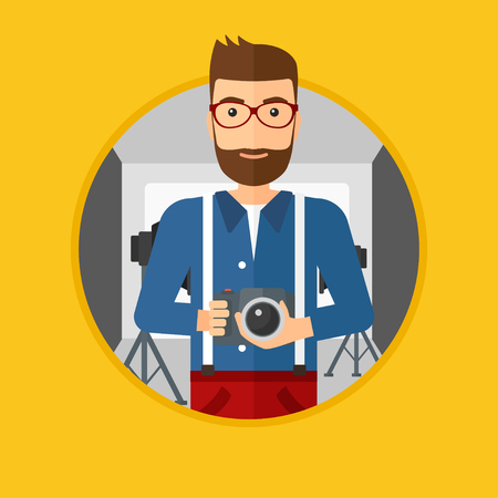 A hipster photographer with the beard holding a camera in photo studio. Photographer using professional camera in the studio. Vector flat design illustration in the circle isolated on background. Stok Fotoğraf - 87000446