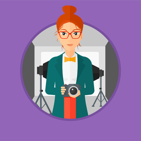 Photographer holding a camera in photo studio. Photographer using camera in the studio. Woman taking photo with digital camera. Vector flat design illustration in the circle isolated on background.