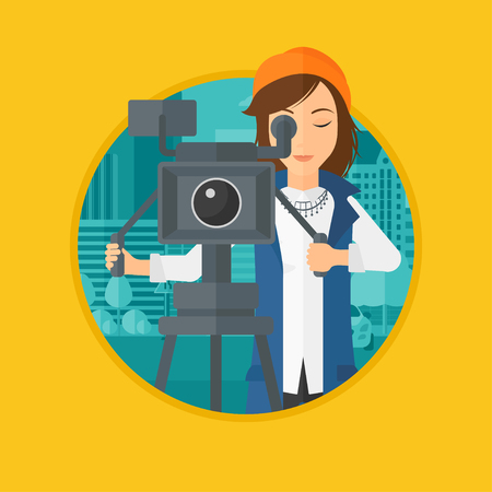 Female cameraman looking through movie camera on a tripod. Young woman with professional video camera shooting in the city. Vector flat design illustration in the circle isolated on background.