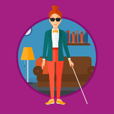 A blind woman in dark glasses standing with walking stick. Young woman with cane standing in the living room. Vector flat design illustration in the circle isolated on background.