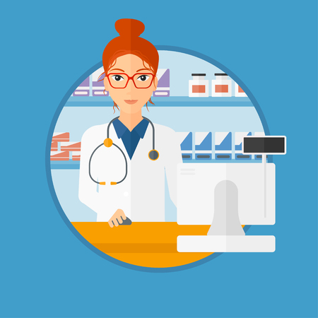 Young pharmacist in medical gown standing at pharmacy counter with cash machine. Female pharmacist working in the drugstore. Vector flat design illustration in the circle isolated on background. Çizim