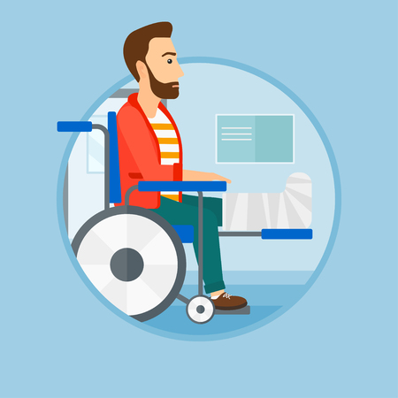 An injured man with leg in plaster. Man with broken leg sitting in wheelchair. Man with fractured leg in the hospital corridor. Vector flat design illustration in the circle isolated on background.