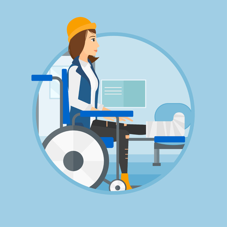 An injured woman with leg in plaster. Woman with broken leg sitting in wheelchair. Woman with fractured leg in hospital corridor. Vector flat design illustration in the circle isolated on background.