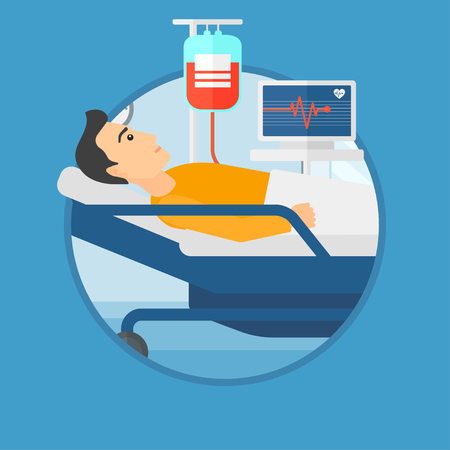 lying in bed: Young man lying in bed at hospital ward. Patient with heart rate monitor and equipment for blood transfusion in medical room. Vector flat design illustration in the circle isolated on background.