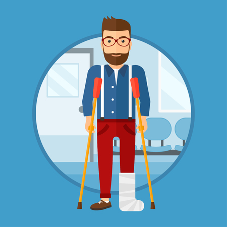 An injured hipster man with leg in plaster. Man with broken using crutches. Man with fractured leg in the hospital corridor. Vector flat design illustration in the circle isolated on background.
