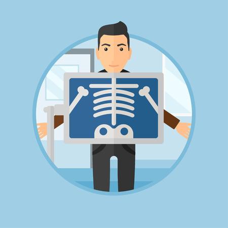 검사실에서 흉부 X 선 검사를받는 동안의 환자. 의사 사무실에서 자신의 골격을 보여주는 x 레이 화면과 젊은 남자. 배경에 고립 된 동그라미에서 벡터  일러스트