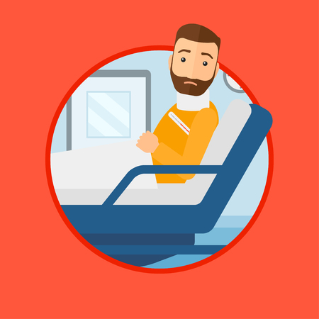 A hipster man with the beard suffering from neck pain. Man with injured neck lying in bed in hospital ward. Man with neck brace. Vector flat design illustration in the circle isolated on background.