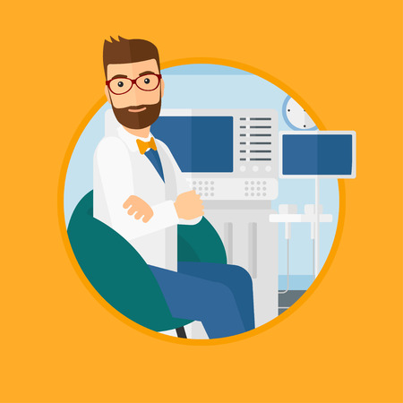 Hipster male ultrasound doctor sitting with arms crossed. Male doctor sitting near modern ultrasound equipment at medical office. Vector flat design illustration in the circle isolated on background.