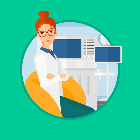 Female ultrasound doctor sitting with arms crossed. Female doctor sitting near modern ultrasound equipment at medical office. Vector flat design illustration in the circle isolated on background.