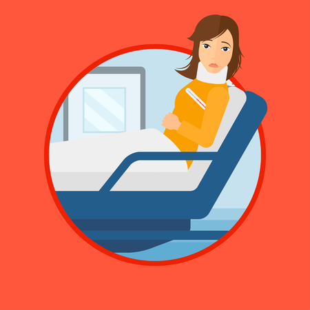 Woman suffering from neck pain. Young woman with neck injury lying in bed in hospital ward. Woman with neck brace at hospital. Vector flat design illustration in the circle isolated on background. Vettoriali