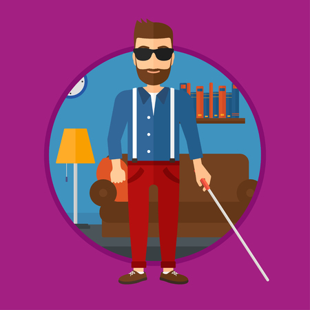 A blind hipster man with the beard standing with walking stick. Young man in dark glasses with cane standing in the living room. Vector flat design illustration in the circle isolated on background. Illustration