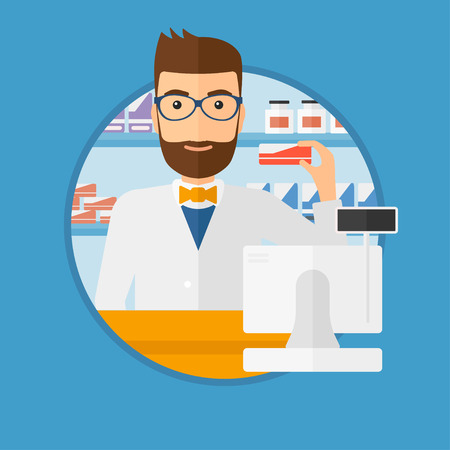 A hipster pharmacist standing at the counter and showing some medicine. Male pharmacist holding a box of pills in the pharmacy. Vector flat design illustration in the circle isolated on background.