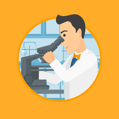 Male laboratory assistant working with microscope at the laboratory. Young scientist using a microscope in a laboratory. Vector flat design illustration in the circle isolated on background. Reklamní fotografie - 87110394