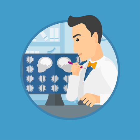Doctor looking at magnetic resonance images of the brain on a computer screen. Doctor analyzing MRI scan at the medical office. Vector flat design illustration in the circle isolated on background. Illustration