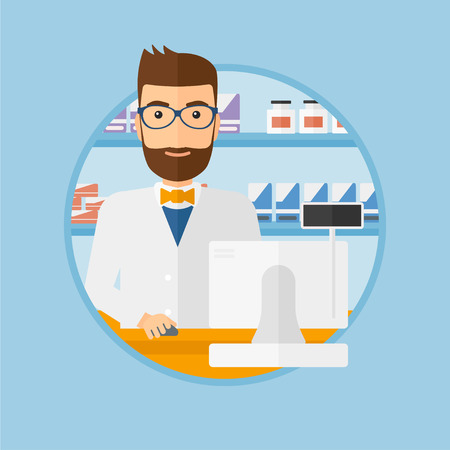 A hipster pharmacist with the beard in medical gown standing at pharmacy counter. Male pharmacist in the drugstore. Vector flat design illustration in the circle isolated on background.