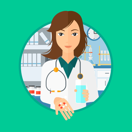 Pharmacist holding in hands a glass of water and pills. Pharmacist standing in the laboratory. Pharmacist giving pills. Vector flat design illustration in the circle isolated on background. Фото со стока - 87110401