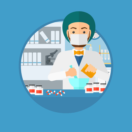 Pharmacist using mortar and pestle for preparing medicine in the laboratory. Pharmacist mixing medicine at the hospital pharmacy. Vector flat design illustration in the circle isolated on background. Illustration