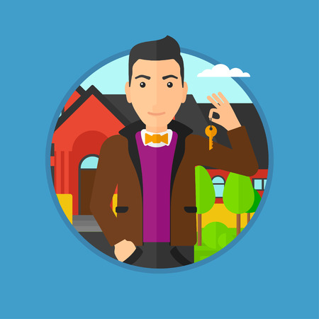 Young male real estate agent holding key. Man with keys standing in front of the house. Happy new owner of a house. Vector flat design illustration in the circle isolated on background. Illustration
