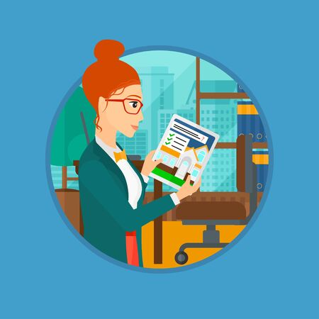 Woman looking at house on a digital tablet screen. Young woman standing in office and looking for house on tablet computer. Vector flat design illustration in the circle isolated on background.