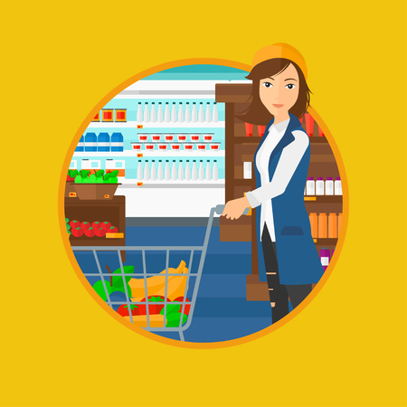 it is full: Young woman pushing a supermarket cart with some goods in it. Customer shopping at supermarket with cart full with groceries. Vector flat design illustration in the circle isolated on background. Illustration