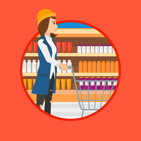 mujer en el supermercado: Woman pushing empty supermarket cart. Woman shopping at supermarket with cart. Woman walking with trolley on aisle at supermarket. Vector flat design illustration in the circle isolated on background. Vectores