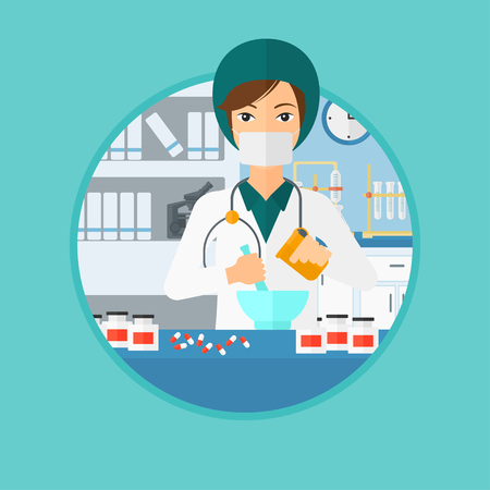 Pharmacist using mortar and pestle for preparing medicine in the laboratory. Pharmacist mixing medicine at the hospital pharmacy. Vector flat design illustration in the circle isolated on background. Иллюстрация