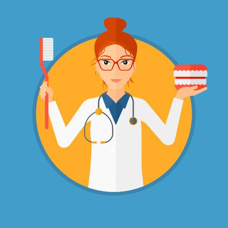 Joven dentista en bata médica con un modelo de mandíbula dental y un cepillo de dientes. Dentista femenino que muestra el modelo y el cepillo de dientes dentales de la mandíbula. Ilustración de diseño plano de vector en el círculo aislado sobre fondo. Foto de archivo - 87110418
