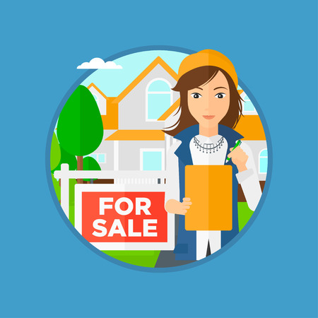 Female real estate agent signing a contract. Young real estate agent standing in front of the house with placard for sale. Vector flat design illustration in the circle isolated on background. Illustration