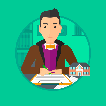 Male real estate agent signing a contract. Young real estate agent sitting at workplace in office with a house model on the table. Vector flat design illustration in the circle isolated on background. Illustration