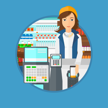 mujer en el supermercado: Woman paying wireless with smartphone at the supermarket checkout . Female customer making payment for purchase with smartphone. Vector flat design illustration in the circle isolated on background. Vectores
