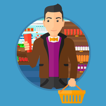 Young man holding a shopping basket in one hand and a tube of cream in another. Male customer shopping at supermarket with basket. Vector flat design illustration in the circle isolated on background.
