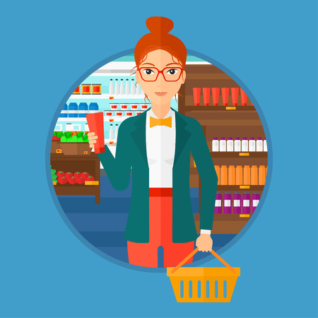 Young woman holding a shopping basket in one hand and a tube of cream in another. Customer shopping at supermarket with basket. Vector flat design illustration in the circle isolated on background. Vectores