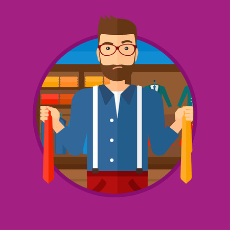 A hipster man with the beard holding two neckties and trying to choose the best one. Customer choosing necktie at clothing store. Vector flat design illustration in the circle isolated on background.