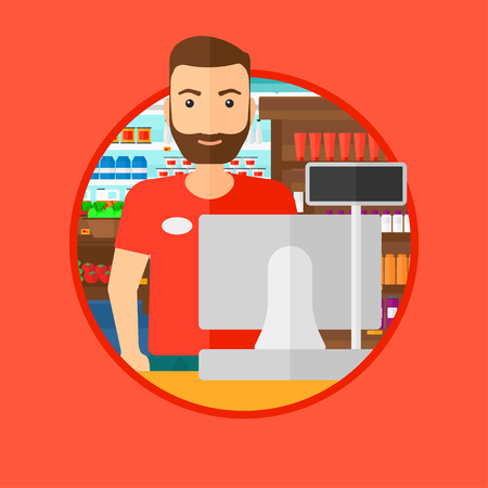 Young hipster cashier with the beard standing at the checkout in supermarket. Male cashier working at checkout in supermarket. Vector flat design illustration in the circle isolated on background.