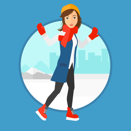 Woman ice skating on frozen lake on a city background. Sportswoman ice skating outdoors on a pond. Woman at the ice rink outdoor. Vector flat design illustration in the circle isolated on background.