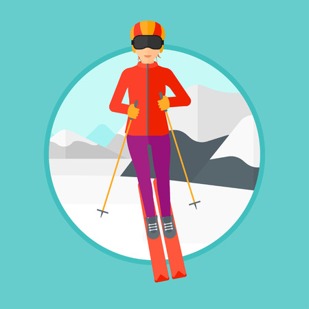 Young woman skiing on the background of snow capped mountain. Skier skiing downhill in mountains. Female skier on downhill slope. Vector flat design illustration in the circle isolated on background.