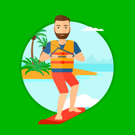 A hipster sportsman wakeboarding on the sea. Wakeboarder making tricks. Man studying wakeboarding. Young man riding wakeboard. Vector flat design illustration in the circle isolated on background.