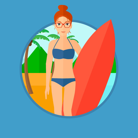 Young female surfer standing with a surfboard on the beach. Female professional surfer with a surf board at the beach. Vector flat design illustration in the circle isolated on background.