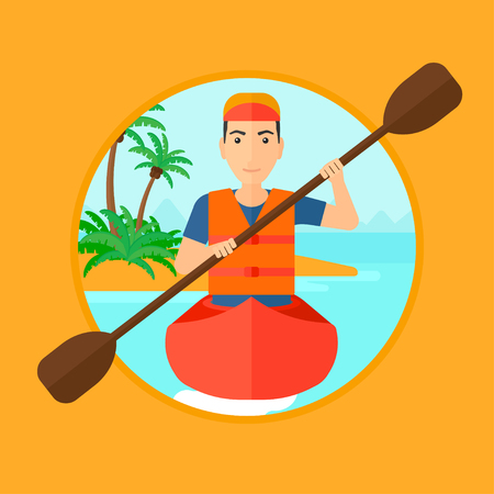 Sportsman riding in a kayak in the sea. Young man traveling by kayak. Male kayaker paddling. Man paddling a canoe. Vector flat design illustration in the circle isolated on background. Illustration