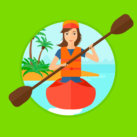 Sports woman riding in a kayak in the sea. Young woman traveling by kayak. Female kayaker paddling. Woman paddling a canoe. Vector flat design illustration in the circle isolated on background. Illustration