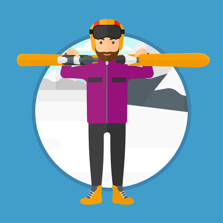 A hipster man with the beard carrying skis on his shoulders on the background of snow capped mountain vector flat design illustration. Square layout. Illustration