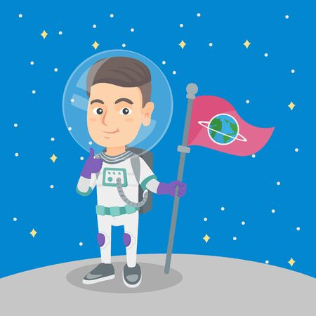 Caucasian kid spaceman holding a flag on a new planet and giving thumb up. Happy kid spaceman in space suit standing on a new planet with a flag in hand. Vector cartoon illustration. Square layout. Ilustração