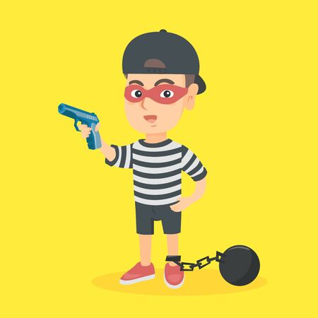 Little caucasian criminal boy wearing face mask, prisoner costume and holding a gun. Criminal boy with a chain ball and a pistol. Boy playing in a criminal. Vector cartoon illustration. Square layout.
