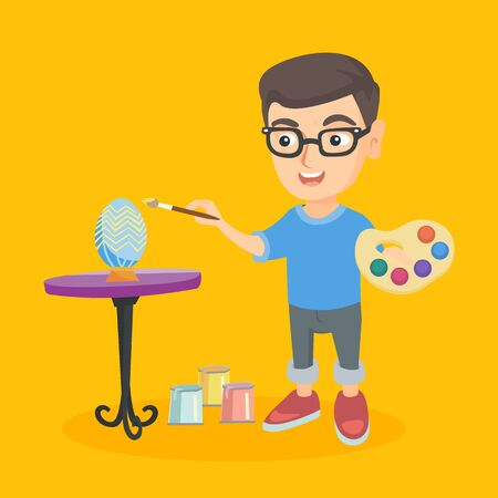 Little caucasian boy painting easter eggs. Happy boy painting eggs for easter holiday. Cheerful boy coloring easter eggs with a brush. Vector cartoon illustration. Square layout. Illustration