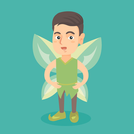 Little caucasian fairy boy with green butterfly wings. Boy dressed in the costume of fairy. Kid wearing elf or fairy suit. Vector cartoon illustration. Square layout. Illustration