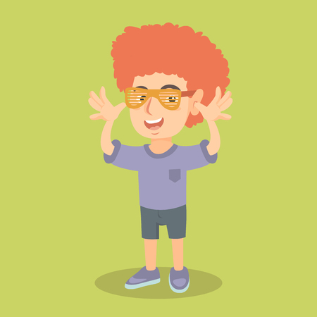kids birthday party: Little caucasian boy wearing clown wig with red curly hair and glasses for party. Funny boy in clown wig making a grimace and teasing with his hands. Vector cartoon illustration. Square layout.